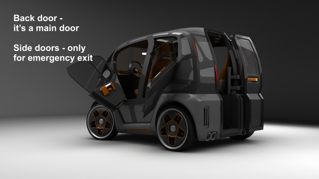 Future car Mirrow Provocator, side doors only for the emergency evacuation